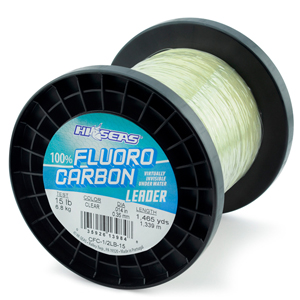 100% Fluorocarbon Leader, 15 lb. (6.8 kg) test, .014 in (0.35 mm) diam, Clear, 1/2 lb. (0.23 kg) spool, approximately 1,465 yd