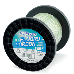 100% Fluorocarbon Leader, 25 lb. (11.3 kg) test, .018 in (0.45 mm) diam, Clear, 1/2 lb. (0.23 kg) spool, approximately 886 yd