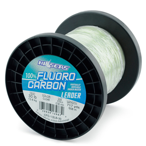 100% Fluorocarbon Leader, 30 lb. (13.6 kg) test, .020 in (0.50 mm) diam, Clear, 1/2 lb. (0.23 kg) spool, approximately 718 yd