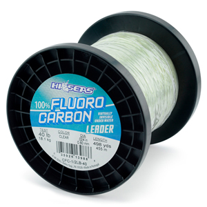 100% Fluorocarbon Leader, 40 lb. (18.1 kg) test, .024 in (0.60 mm) diam, Clear, 1/2 lb. (0.23 kg) spool, approximately 498 yd