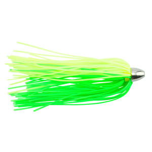 C&H, King Buster Lure, Fluorescent Green/Charteuse Skirt, 1/8 oz (3.5 g) Head, 2.5 in (6.35 cm), 3 pc