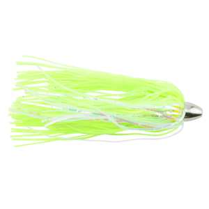 C&H, King Buster Lure, Chartreuse/Pearl Mylar Skirt, 1/8 oz (3.5 g) Head, 2.5 in (6.35 cm), 3 pc