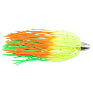 C&H, King Buster Lure, Chartreuse/GreenOrangeFire Skirt, 1/8 oz (3.5 g) Head, 2.5 in (6.35 cm), 3 pc