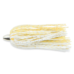 C&H, King Buster Lure, Gold/White/Gold Fleck Skirt, 1/8 oz (3.5 g) Head, 2.5 in (6.35 cm), 3 pc