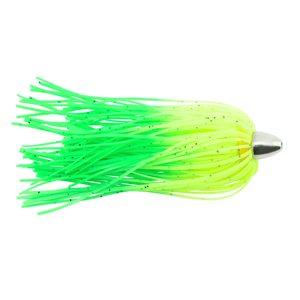 C&H, King Buster Lure, Chartreuse/Green Firetail Skirt, 1/8 oz (3.5 g) Head, 2.5 in (6.35 cm), 3 pc