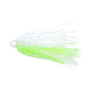 C&H, King Buster Lure, Green Fleck/Glow Skirt, 1/8 oz (3.5 g) Head, 2.5 in (6.35 cm), 3 pc