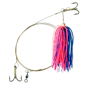 C&H, King Buster Pro-Rig, 1/8 oz (3.5 g) Head, Blue/Pink/Pearl Mylar Skirt, Two #4 4x Treble Hooks, AFW Swivel, AFW Tooth Proof Camo Brown Wire, 3 ft (0.91 m)