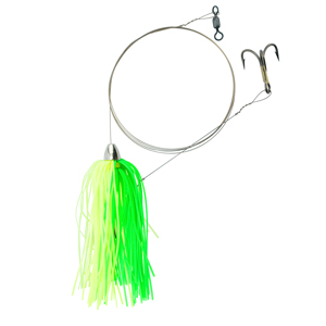 C&H, King Buster Pro-Rig, 1/8 oz (3.5 g) Head, Fluorescent Green/Charteuse Skirt, Two #4 4x Treble Hooks, AFW Swivel, AFW Tooth Proof Camo Brown Wire, 3 ft (0.91 m)