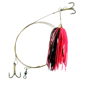C&H, King Buster Pro-Rig, 1/8 oz (3.5 g) Head, Black/Pink Skirt, Two #4 4x Treble Hooks, AFW Swivel, AFW Tooth Proof Camo Brown Wire, 3 ft (0.91 m)