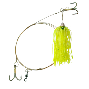 C&H, King Buster Pro-Rig, 1/8 oz (3.5 g) Head, Chartreuse/Pearl Mylar Skirt, Two #4 4x Treble Hooks, AFW Swivel, AFW Tooth Proof Camo Brown Wire, 3 ft (0.91 m)