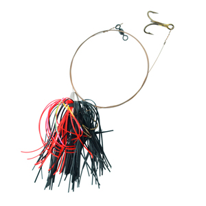 C&H, King Buster Pro-Rig, 1/8 oz (3.5 g) Head, Black/Red Mylar Skirt, Two #4 4x Treble Hooks, AFW Swivel, AFW Tooth Proof Camo Brown Wire, 3 ft (0.91 m)