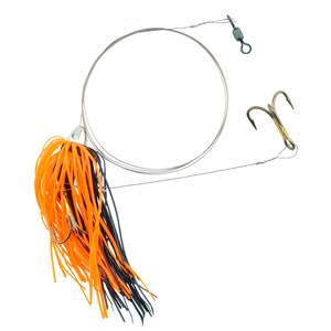C&H, King Buster Pro-Rig, 1/8 oz (3.5 g) Head, Black/Orange Skirt, Two #4 4x Treble Hooks, AFW Swivel, AFW Tooth Proof Camo Brown Wire, 3 ft (0.91 m)