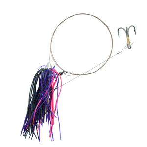C&H, King Buster Pro-Rig, 1/8 oz (3.5 g) Head, Hot Pink/Purple/Black Skirt, Two #4 4x Treble Hooks, AFW Swivel, AFW Tooth Proof Camo Brown Wire, 3 ft (0.91 m)