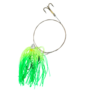 C&H, King Buster Pro-Rig, 1/8 oz (3.5 g) Head, Chartreuse/Green Firetail Skirt, Two #4 4x Treble Hooks, AFW Swivel, AFW Tooth Proof Camo Brown Wire, 3 ft (0.91 m)