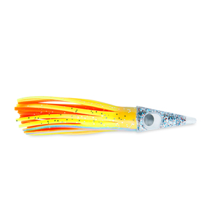 C&H, Tuna Tango Lure, Chartreuse Foil/Orange Skirt, 1.75 oz (49.6 g) Head, 5.75 in (14.6 cm)