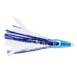 C&H, Tuna Tango XL Feather Lure, Blue/White Feather Skirt, 6.5 in (16.5 cm)