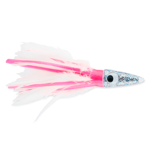 C&H, Tuna Tango XL Feather Lure, Pink/White Feather Skirt, 6.5 in (16.5 cm)