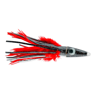 C&H, Tuna Tango XL Feather Lure, Black Foil/Red Feather Skirt, 6.5 in (16.5 cm)