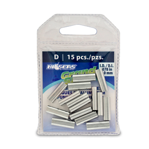Grand Slam Aluminum Sleeves, 2.0 mm ID, use with 250-300 lb (113.3 - 136.0 kg) mono, 15 pc