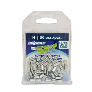 Grand Slam Aluminum Sleeves, 1.2 mm ID, use with 100 lb (45.3 kg) mono, 50 pc