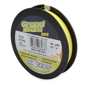 Grand Slam Braid, 10 lb (4.5 kg) test, .004 in (0.10 mm) dia, Fluorescent Yellow, 150 yd (137 m)