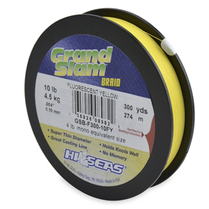 Grand Slam Braid, 10 lb (4.5 kg) test, .004 in (0.10 mm) dia, Fluorescent Yellow, 300 yd (274 m)