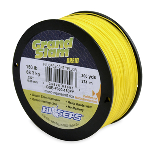 Grand Slam Braid, 150 lb (68.2 kg) test, .022 in (0.56 mm) dia, Fluorescent Yellow, 300 yd (274 m)