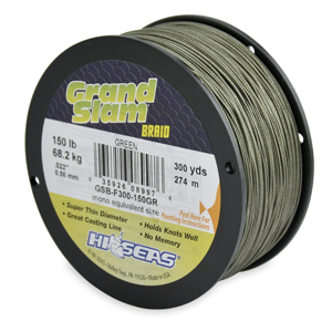 Grand Slam Braid, 150 lb (68.2 kg) test, .022 in (0.56 mm) dia, Green, 300 yd (274 m)