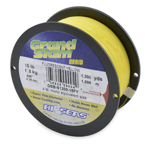 Grand Slam Braid, 15 lb (6.8 kg) test, .006 in (0.15 mm) dia, Fluorescent Yellow, 1200 yd (1097 m)