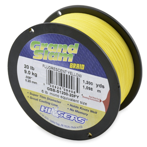 Grand Slam Braid, 20 lb (9.1 kg) test, .008 in (0.20 mm) dia, Fluorescent Yellow, 1200 yd (1097 m)
