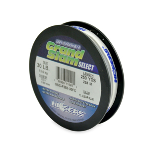 Grand Slam Select, 30 lb (13.6 kg) test, .020 in (0.50 mm) dia, Fluorescent Clear Blue, 300 yd (274 m)