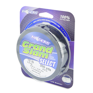 Grand Slam Select, 15 lb (6.8 kg) test, .015 in (0.37 mm) dia, Fluorescent Clear Blue, 300 yd (274 m)