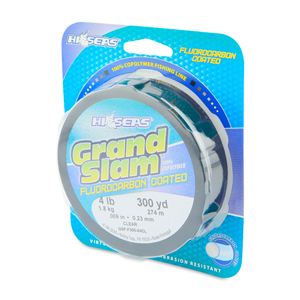 Grand Slam Fluorocarbon Coated, 4 lb (1.8 kg) test, .009 in (0.23 mm) dia, Clear, 300 yd (274 m)