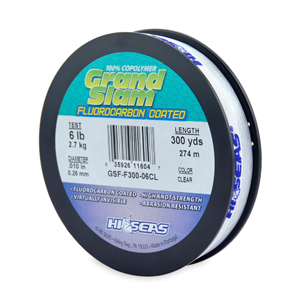Grand Slam Fluorocarbon Coated, 6 lb (2.7 kg) test, .010 in (0.26 mm) dia, Clear, 300 yd (274 m)