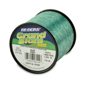 Grand Slam Mono Line, 10 lb (4.5 kg) test, .012 in (0.30 mm) dia, Green, 1480 yd (1353 m)