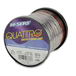 Quattro Mono Line, 100 lb 45.3 kg) test, .039 in (1.00 mm) dia, 4-Color Camo, 480 yd (439 m)