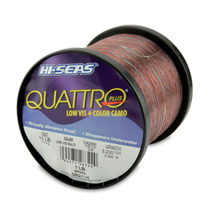 Quattro Mono Line, 15 lb (6.8 kg) test, .016 in (0.40 mm) dia, 4-Color Camo, 3200 yd (2926 m)