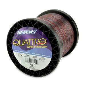 Quattro Mono Line, 12 lb (5.4 kg) test, .014 in (0.35 mm) dia, 4-Color Camo, 8000 yd (3715 m)