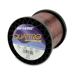 Quattro Mono Line, 20 lb (9.0 kg) test, .018 in (0.45 mm) dia, 4-Color Camo, 5200 yd (4755 m)