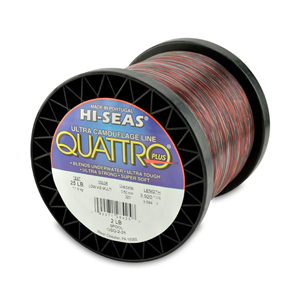 Quattro Mono Line, 25 lb (13.6 kg) test, .020 in (0.50 mm) dia, 4-Color Camo, 3920 yd (3584 m)