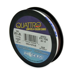 Quattro Mono Line, 30 lb (11.3 kg) test, .022 in (0.55 mm) dia, 4-Color Camo, 250 yd (229 m)