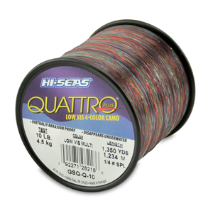 Quattro Mono Line, 10 lb (4.5 kg) test, .012 in (0.30 mm) dia, 4-Color Camo, 1350 yd (1234 m)