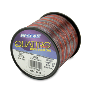 Quattro Mono Line, 12 lb (5.4 kg) test, .014 in (0.35 mm) dia, 4-Color Camo, 1000 yd (914 m)