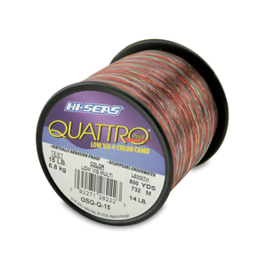 Quattro Mono Line, 15 lb (6.8 kg) test, .016 in (0.40 mm) dia, 4-Color Camo, 800 yd (732 m)