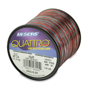 Quattro Mono Line, 25 lb (13.6 kg) test, .020 in (0.50 mm) dia, 4-Color Camo, 490 yd (448 m)