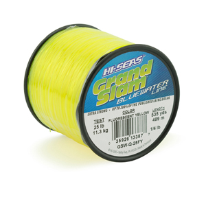 Grand Slam Bluewater Line, 25 lb (11.3 kg) test, .020 in (0.50 mm) dia, Fluorescent Yellow, 535 yd (489 m)