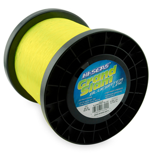 Grand Slam Bluewater Line, 50 lb (22.6 kg) test, .028 in (0.70 mm) dia, Fluorescent Yellow, 3000 yd (2743 m)