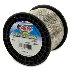 Monel Trolling Wire, Nickel-Copper Alloy, 15 lb (7 kg) test, .016 in (0.33 mm) dia, Bright, 6505 ft (1982 m)