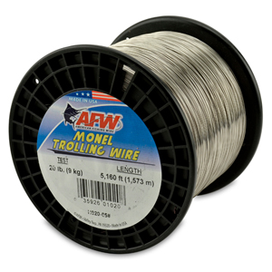 Monel Trolling Wire, Nickel-Copper Alloy, 20 lb (9 kg) test, .018 in (0.46 mm) dia, Bright, 5160 ft (1572 m)