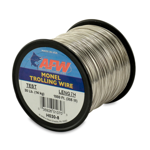 Monel Trolling Wire, Nickel-Copper Alloy, 30 lb (14 kg) test, .022 in (0.56 mm) dia, Bright, 1000 ft (305 m)